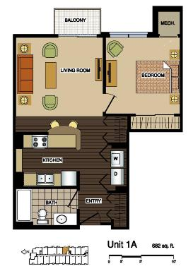 1A  floor plans at Station 38 apartments