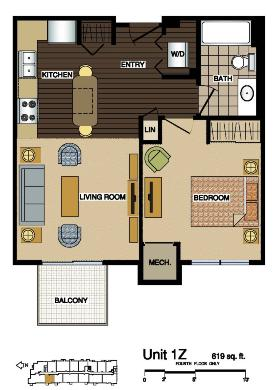 1Z Floorplan at Station 38 Apartments, Minneapolis, MN