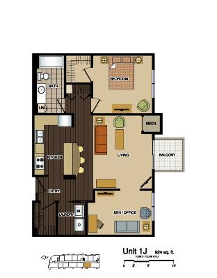 1J Foor Plan at Station 38 Apartments